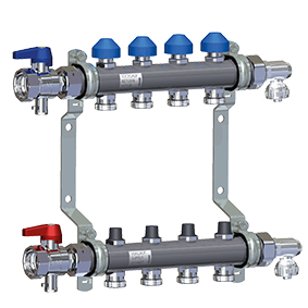 Manifold HKV2010-VA Stainless Steel for Underfloor Heating equipped with accessories