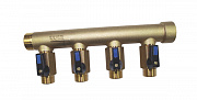 "Heating manifold type D Ø30 - inlet M 1"" - outlet M 1/2"" with integrated valves - end F 1"""